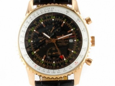 Breitling Old Navitimer redgold with leather black - ceas replica 1:1