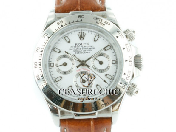Rolex Daytona whitegoldleather - white Dial - ceas replica 1:1