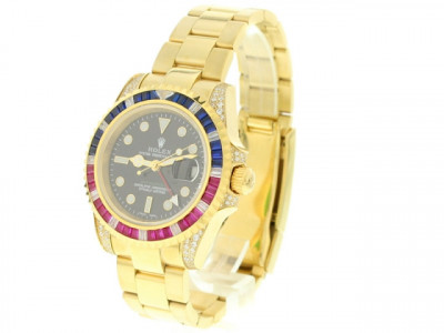 Rolex GMT Master II Black Dial 18k Yellow Gold - ceas replica 1:1